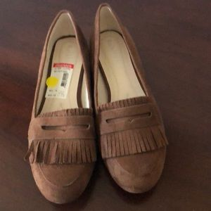 New brown suede flats with fringe